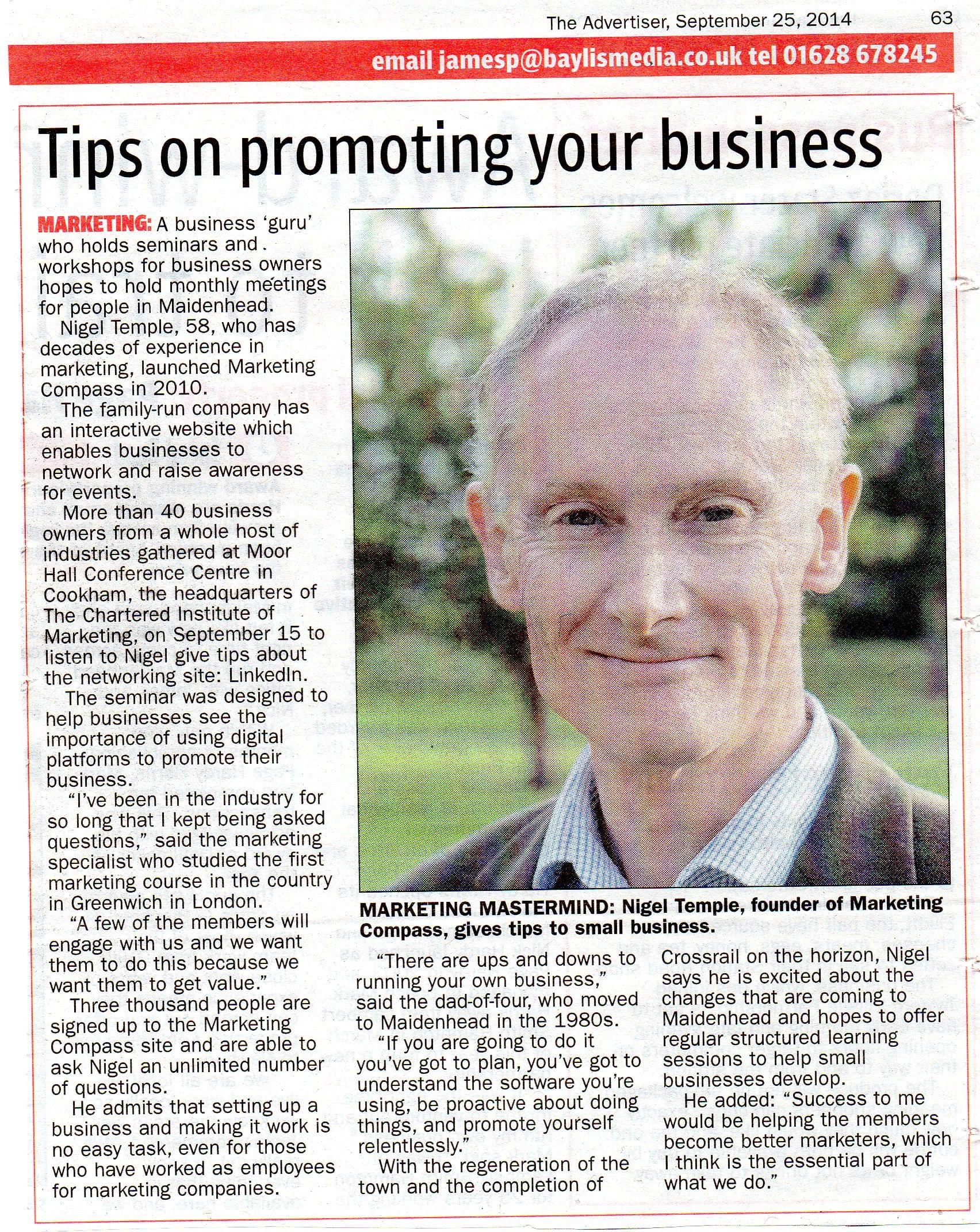 Nigel Temple - The Maidenhead Advertiser 25-09-2014 (2)